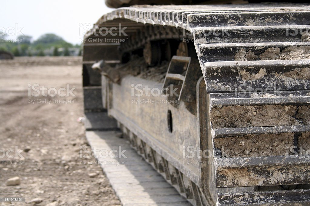 close up photograph of excavator treads royalty-free stock photo