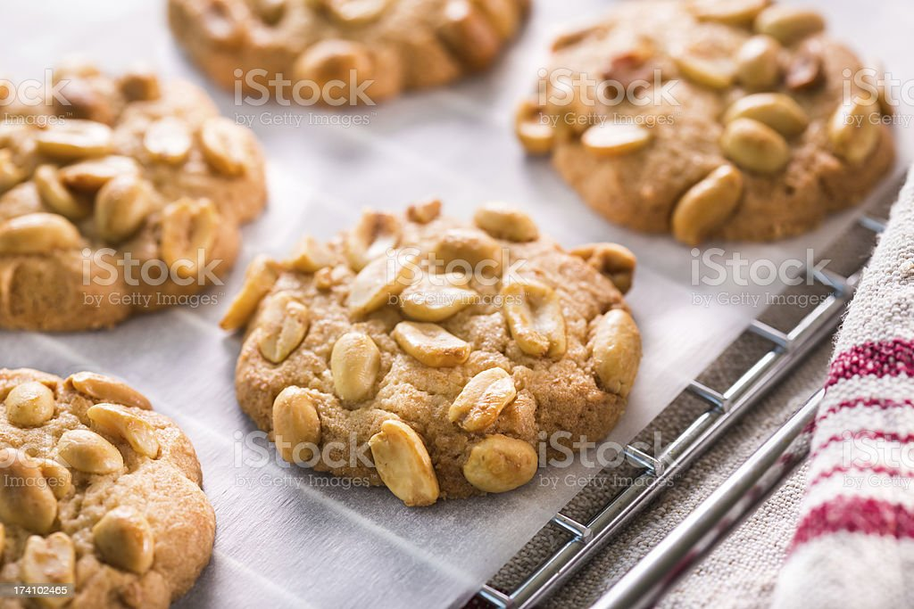 A close up photograph of some peanut chip cookies stock photo