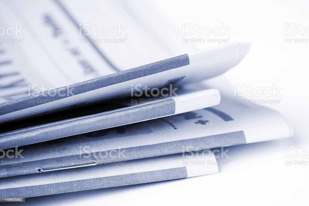 Close up photos of a stack of newspapers royalty-free stock photo