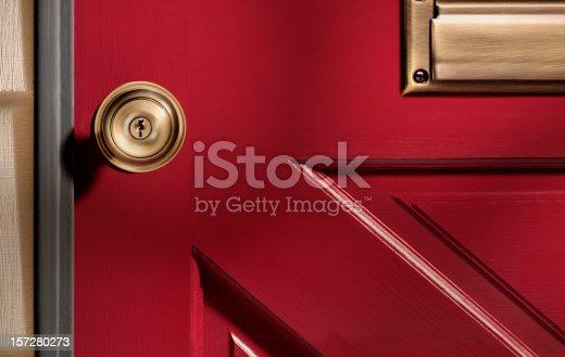 Photo of a red door.