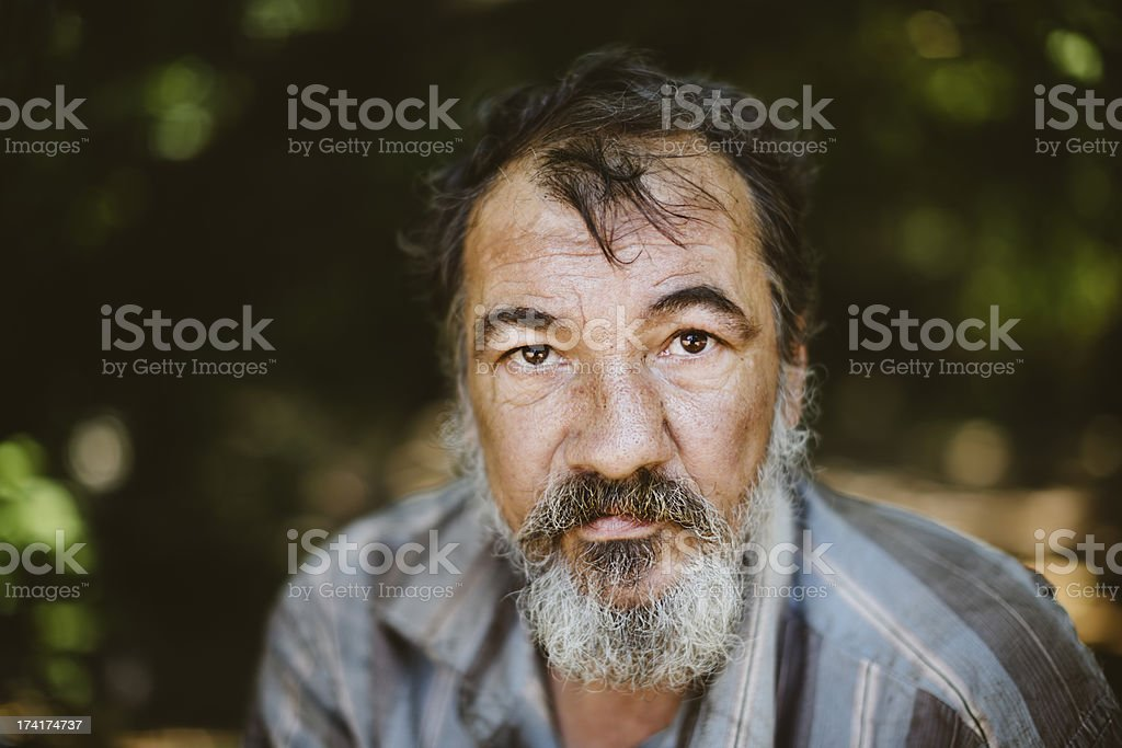 Close up picture of a man with a beard stock photo