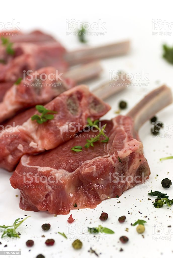 Close up picture of a raw lamb chop - fillet royalty-free stock photo