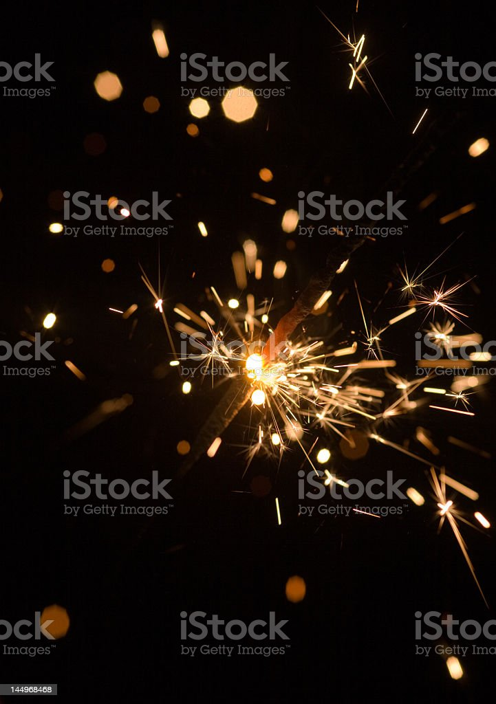Close up picture of birthday sparkler in black background royalty-free stock photo