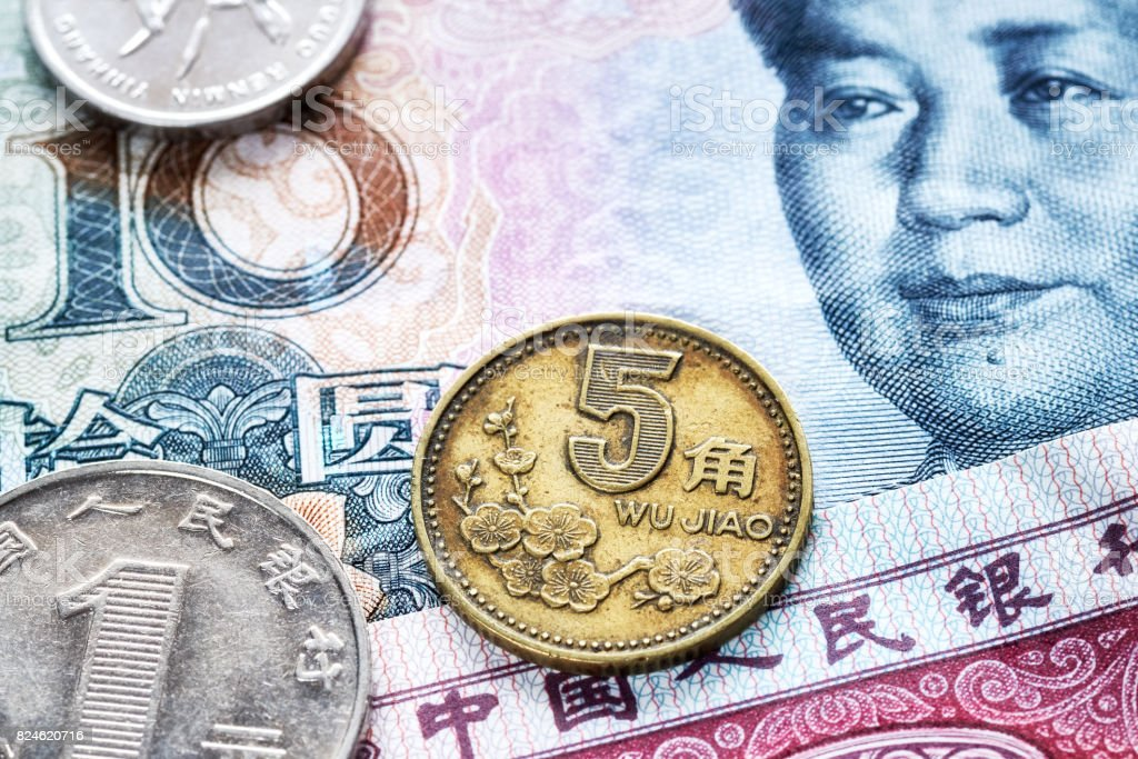 Close up picture of Chinese yuan. stock photo