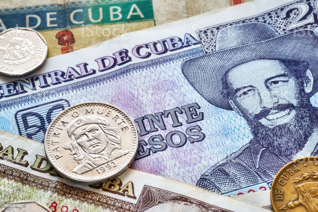 Close up picture of Cuban peso. stock photo