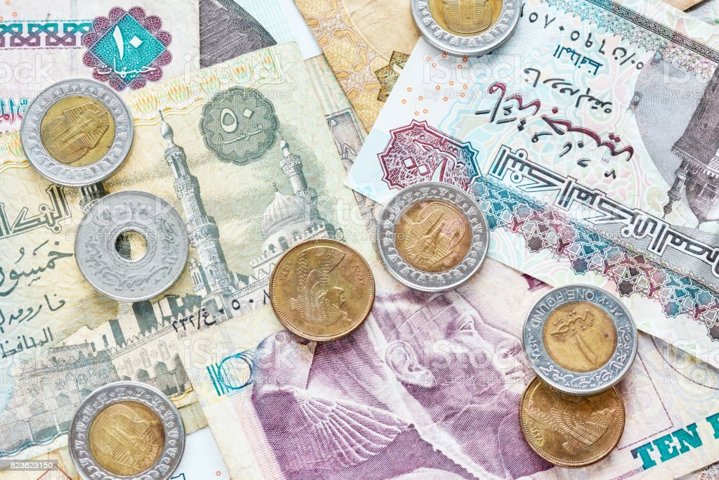 Close up picture of Egyptian pounds. stock photo
