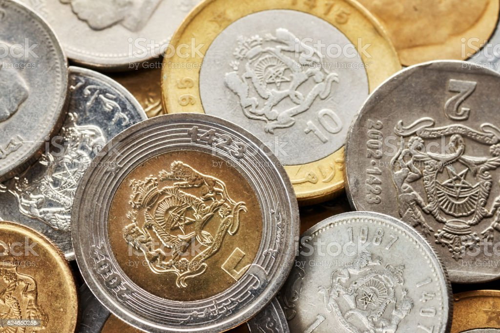 Close up picture of Moroccan dirham. stock photo