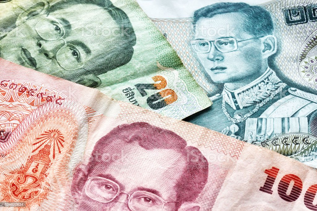 Close up picture of Thai baht. stock photo