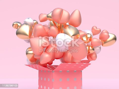 istock close up pink gold white metallic glossy balloon heart shape levitation pink gift box open abstract valentine concept 3d rendering 1139298103