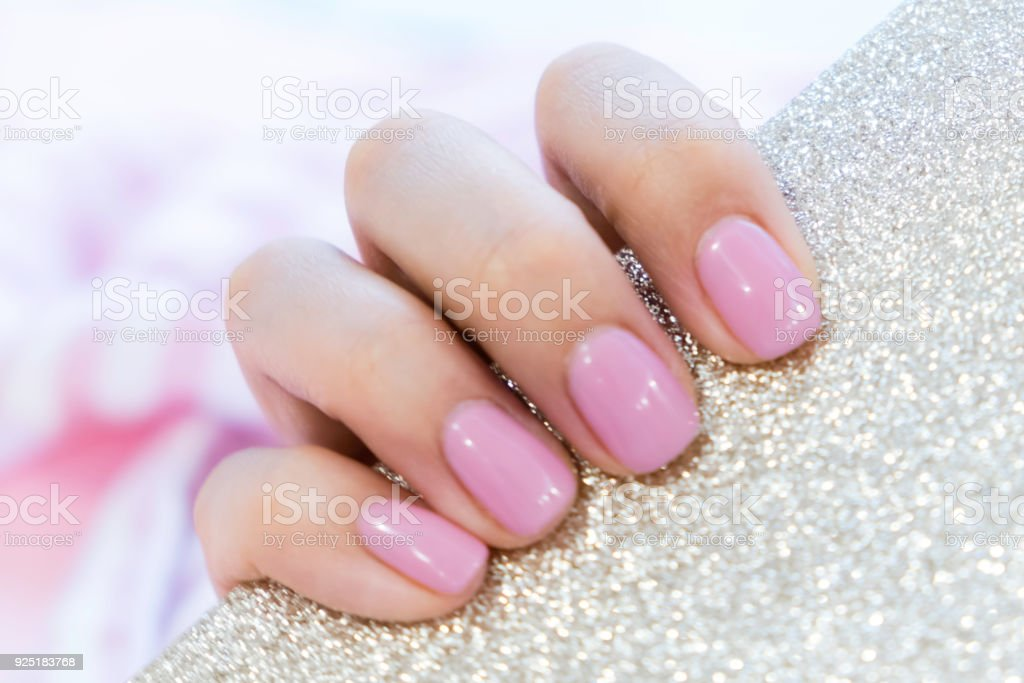 Close Up Pink Nails For Girls Stylish Trendy Female Manicured