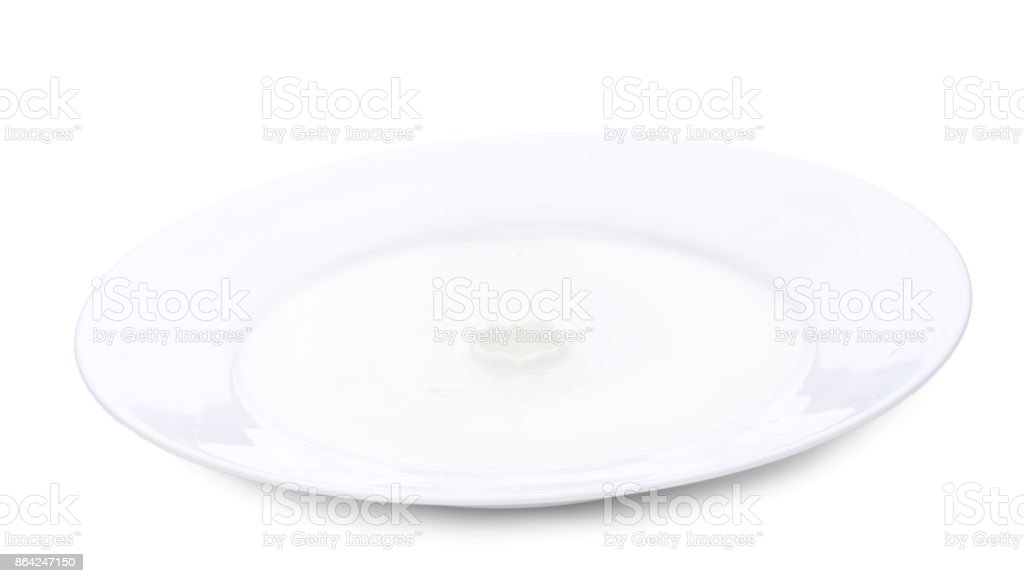 Close up plate with milk, milk surface is calm. Horizontal close-up image royalty-free stock photo