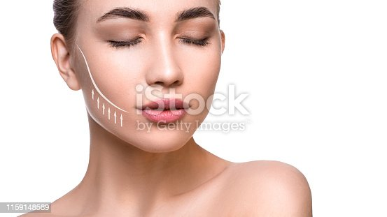 Close up portrait of a beautiful woman with lifting lines on the face. Face lifting and skin care concept.