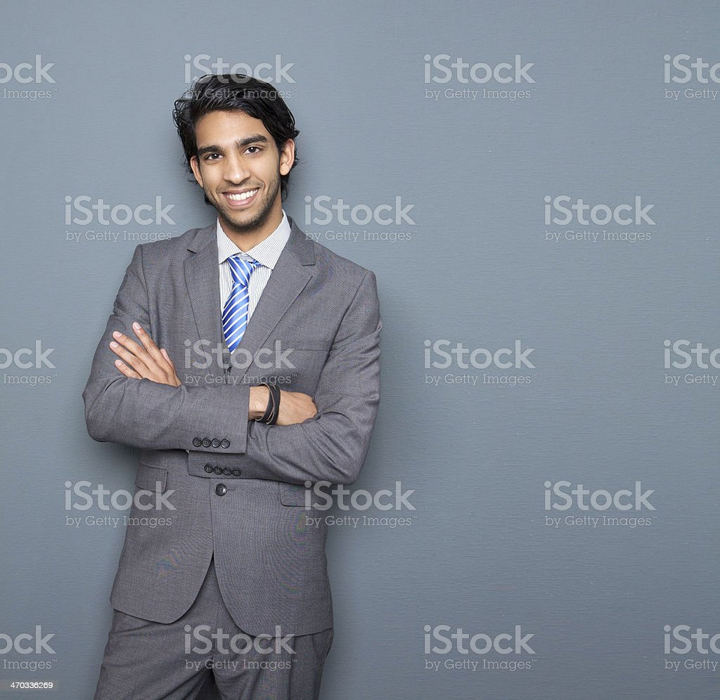 Close up portrait of a cheerful young businessman stock photo