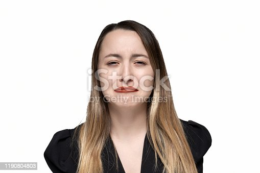 896025292 istock photo Close up portrait of a crying woman 1190804803