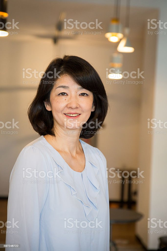 Close up portrait of a happy senior Japanese woman stock photo
