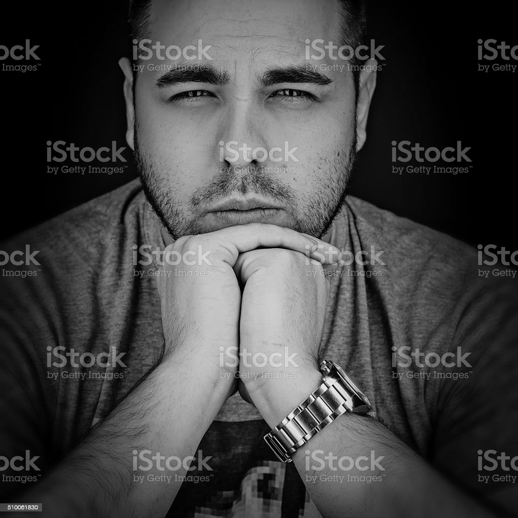Close up portrait of a man black and white photo royalty free stock photo