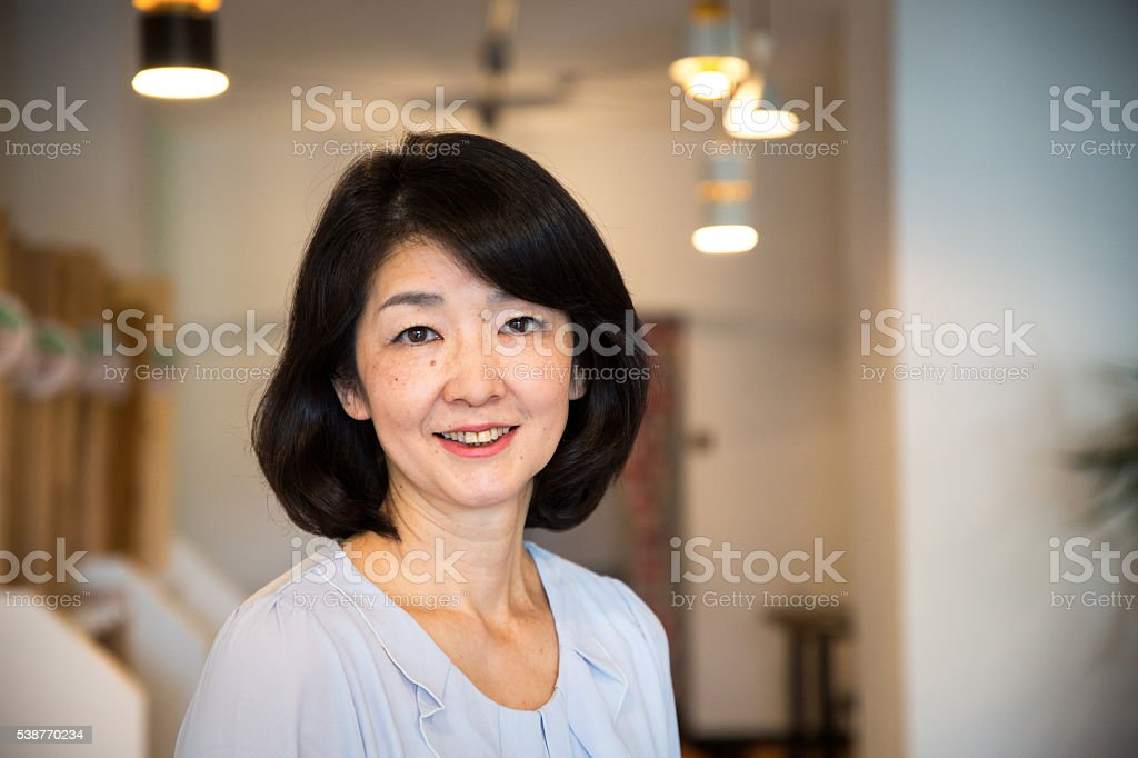 Close up portrait of a senior Japanese woman stock photo