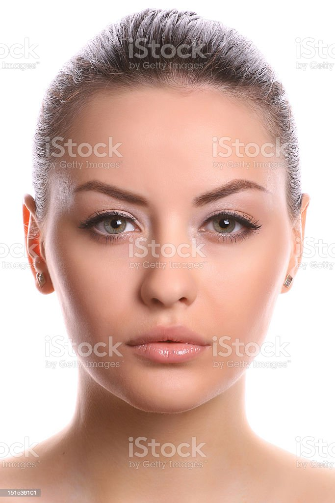 Close up portrait of a woman with her hair in a ponytail stock photo