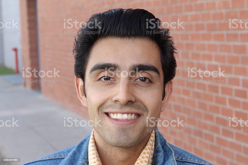 Close up portrait of Arabic nice man stock photo