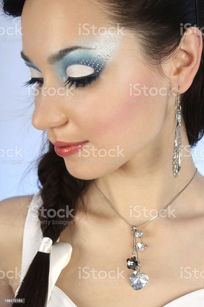 close up portrait of beautiful woman with winter make-up royalty-free stock photo