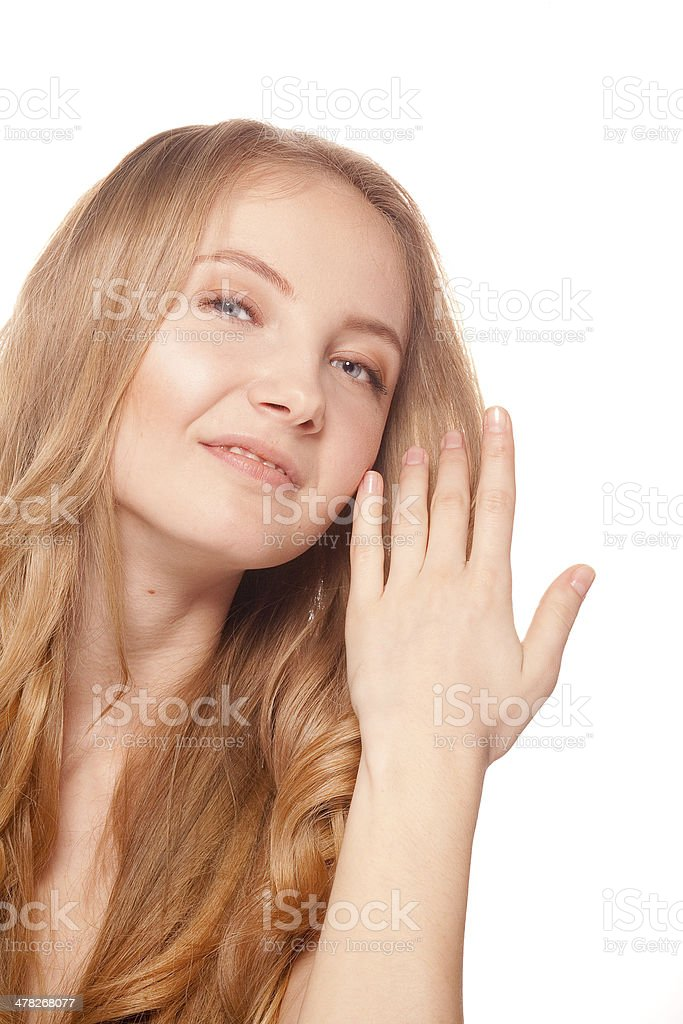 Close up portrait of beautiful young woman face royalty-free stock photo