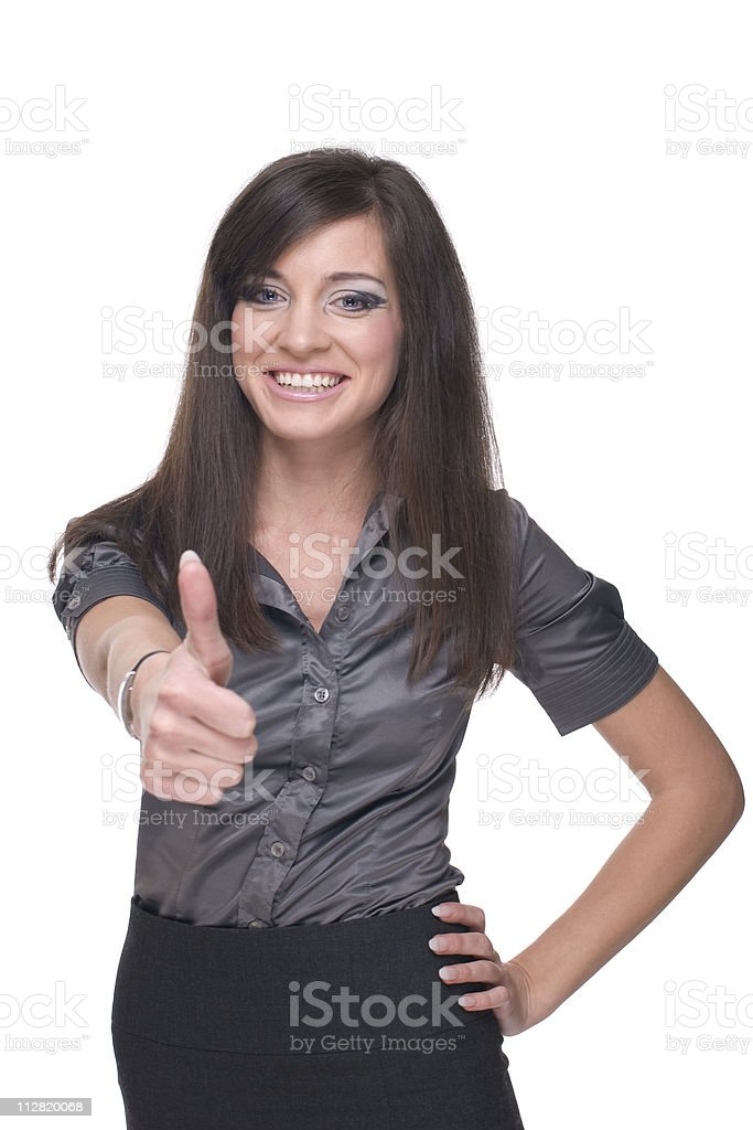 Close up portrait of business woman. Thumbs up! royalty-free stock photo