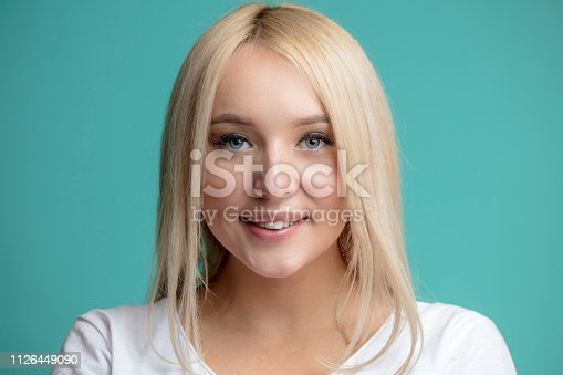 istock close up portrait of charming blond model with beautiful makeup 1126449090