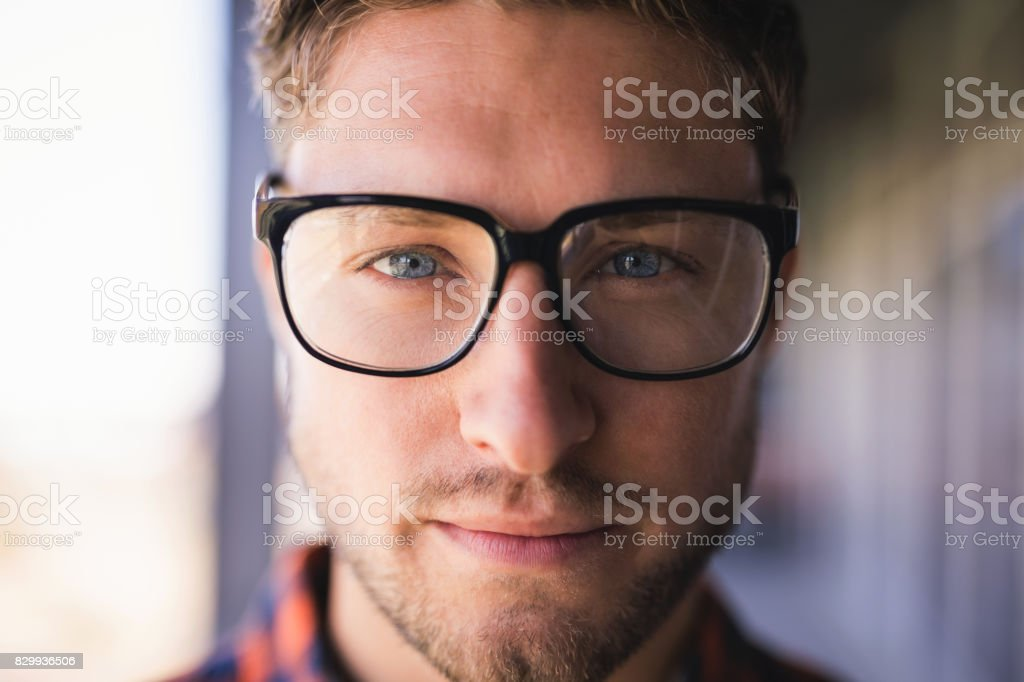 Close up portrait of confident businessman in balcony stock photo