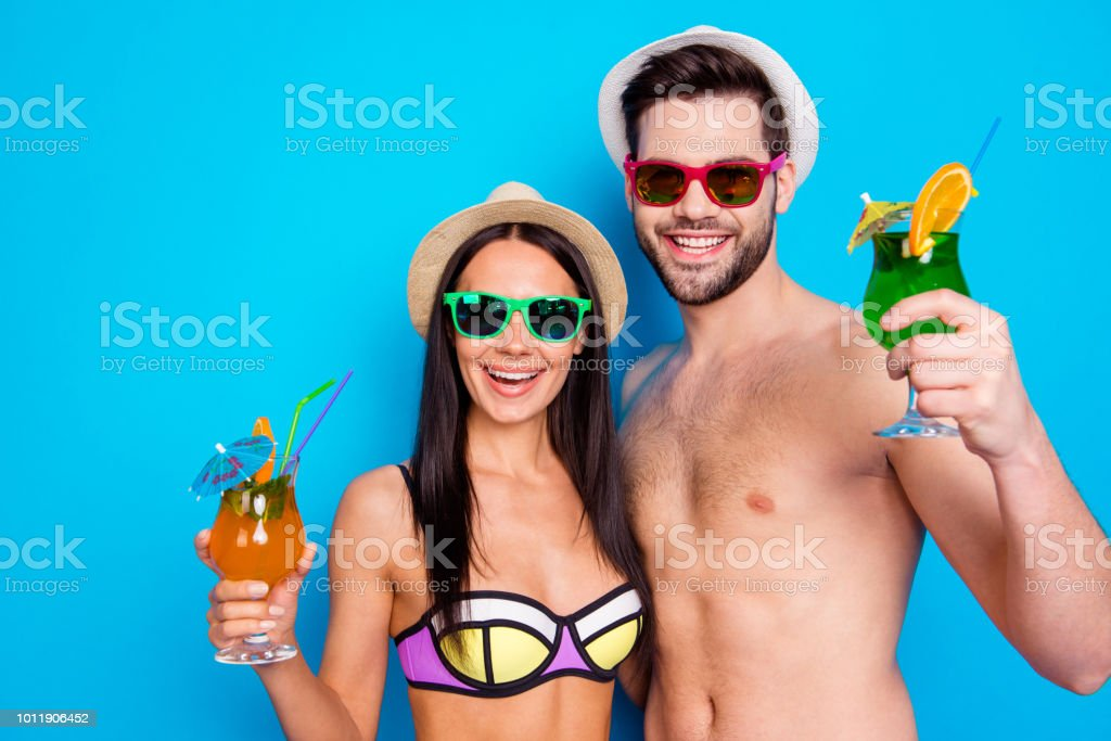 Close up portrait of excited cheerful toothy smile people having with...
