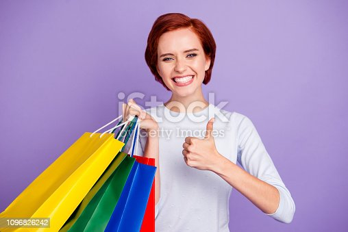 Close up portrait of funky beautiful pretty cheer cute she her girl telling about best prices in mall getting finger up in advising isolated on violet background