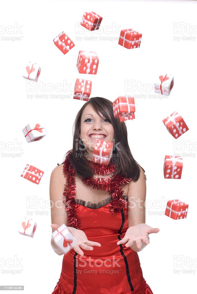 Close up portrait of girl in santa dress with gifts royalty-free stock photo