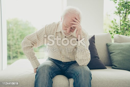 istock Close up portrait of grey haired he his him grandpa with chronic 1124415619
