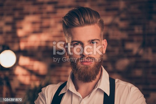 istock Close up portrait of handsome attractive virile masculine stunning serious confident focused self-assured elegant classy posh arrogant executive dreamy pensive stylist trendy designer hairdresser 1034391870