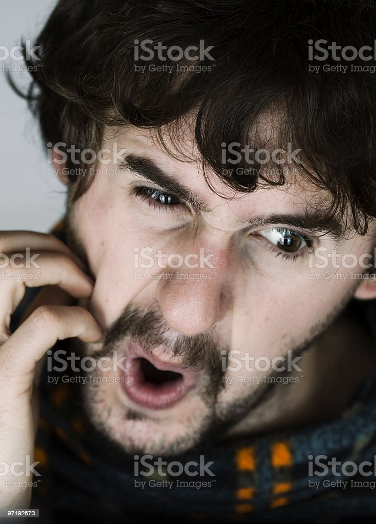 Close up portrait of nervous young man royalty-free stock photo