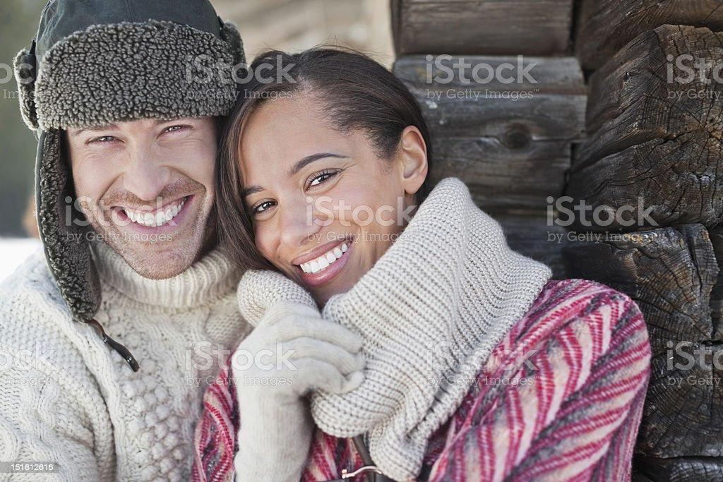 Close up portrait of smiling couple stock photo