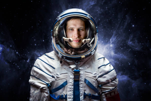 close up portrait of young astronaut completed space mission b. Elements of this image furnished by nasa stock photo