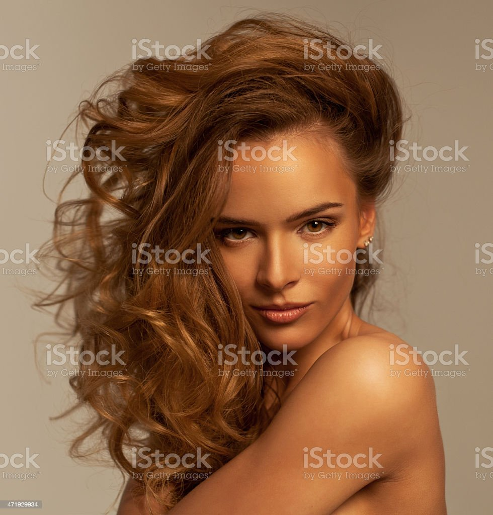 Close up portrait of young beautiful woman stock photo
