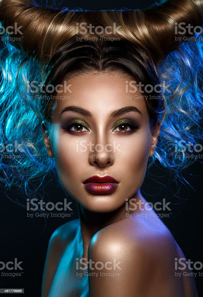 Close up portrait young woman with bright fantasy make up stock photo
