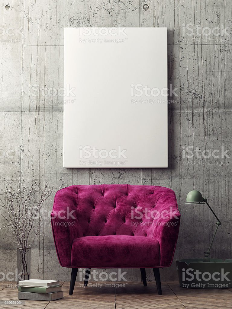 Close up poster, hipster living room stock photo