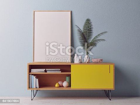 istock Close up poster on chest drawer 641907654