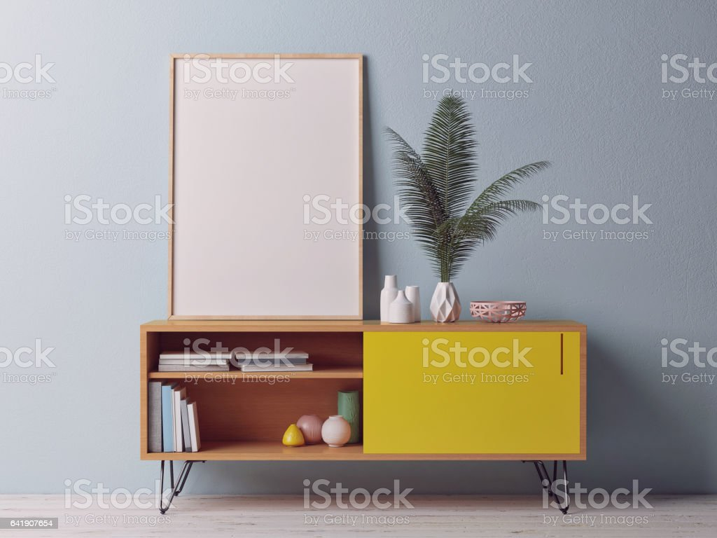 Close up poster on chest drawer stock photo
