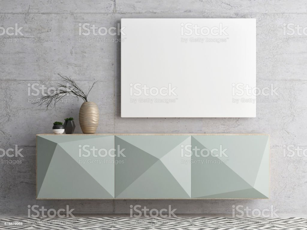 Close up  poster on chest drawers vector art illustration