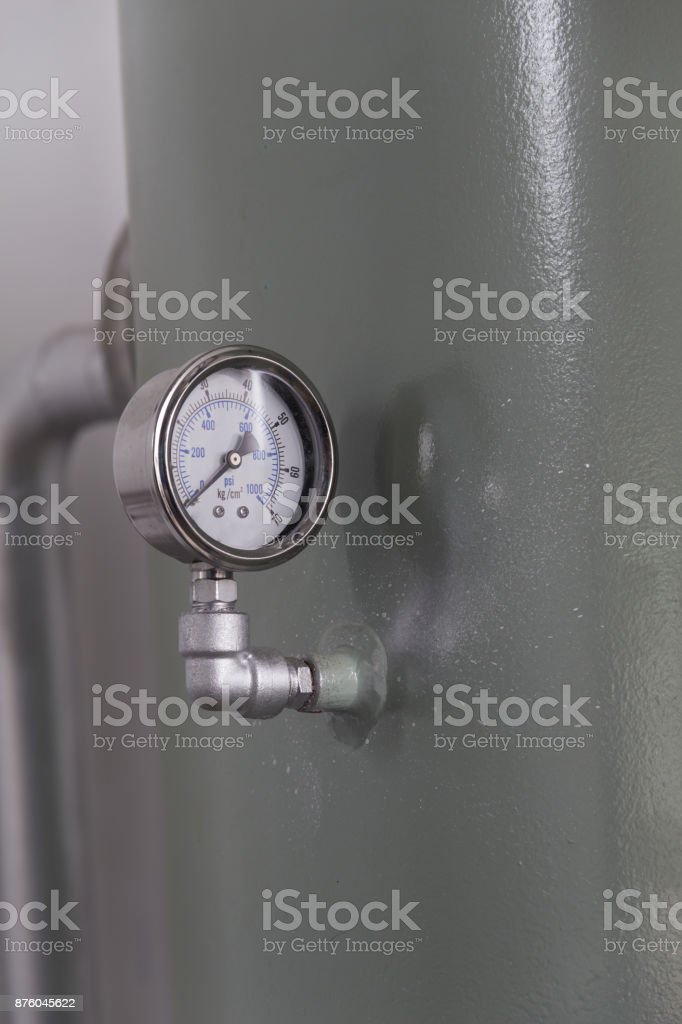 close up pressure gauge pound per square inch (psi). stock photo