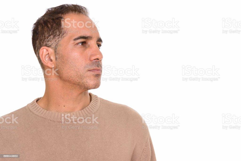Olgun Yakışıklı Farsça Adamın Profil Görünümü Kapatın Stok