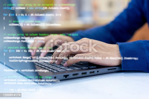 957759714 istock photo close up programmer man hand typing on keyboard at laptop  to input code language into software for study bug and defect of system at office for  development of technology concept 1200914174