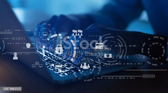 518433812istockphoto close up programmer man hand typing on keyboard laptop for register data system or access password with virtual interface of cyber security at dark operation room , concept 1057890202