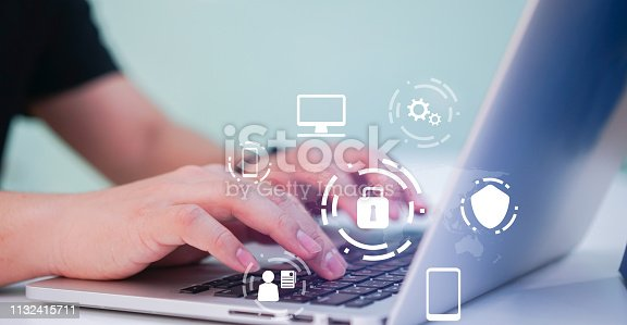 close up programmer man hand typing on keyboard laptop for register data system or access password and writing configuration for protection with virtual interface of cyber security at  operation room , concept