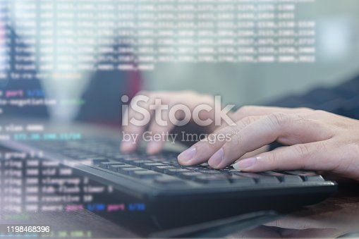 957759714 istock photo close up programmer student man hand typing on keyboard at computer desktop  to input code language into software for study bug and defect of system in classroom , development of technology concept 1198468396