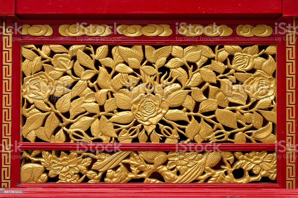 Close up red and gold palanquin vent, Sino portuguese style stock photo