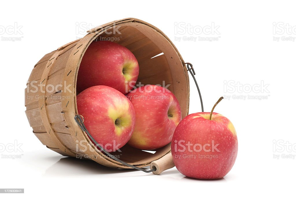 Close up Red Apples spilling from basket-isolated on white stock photo